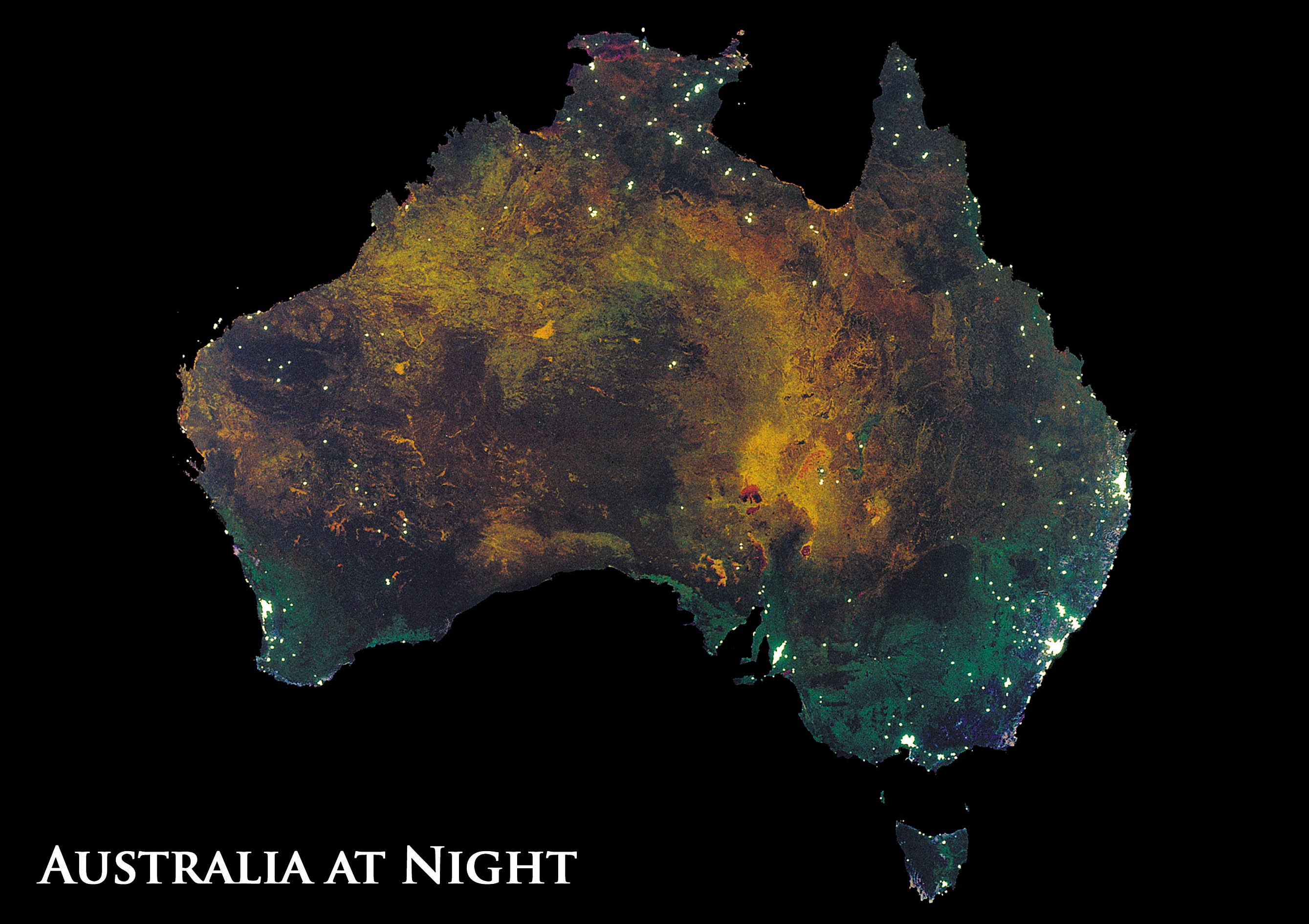 Astrovisuals Australia at Night Postcard