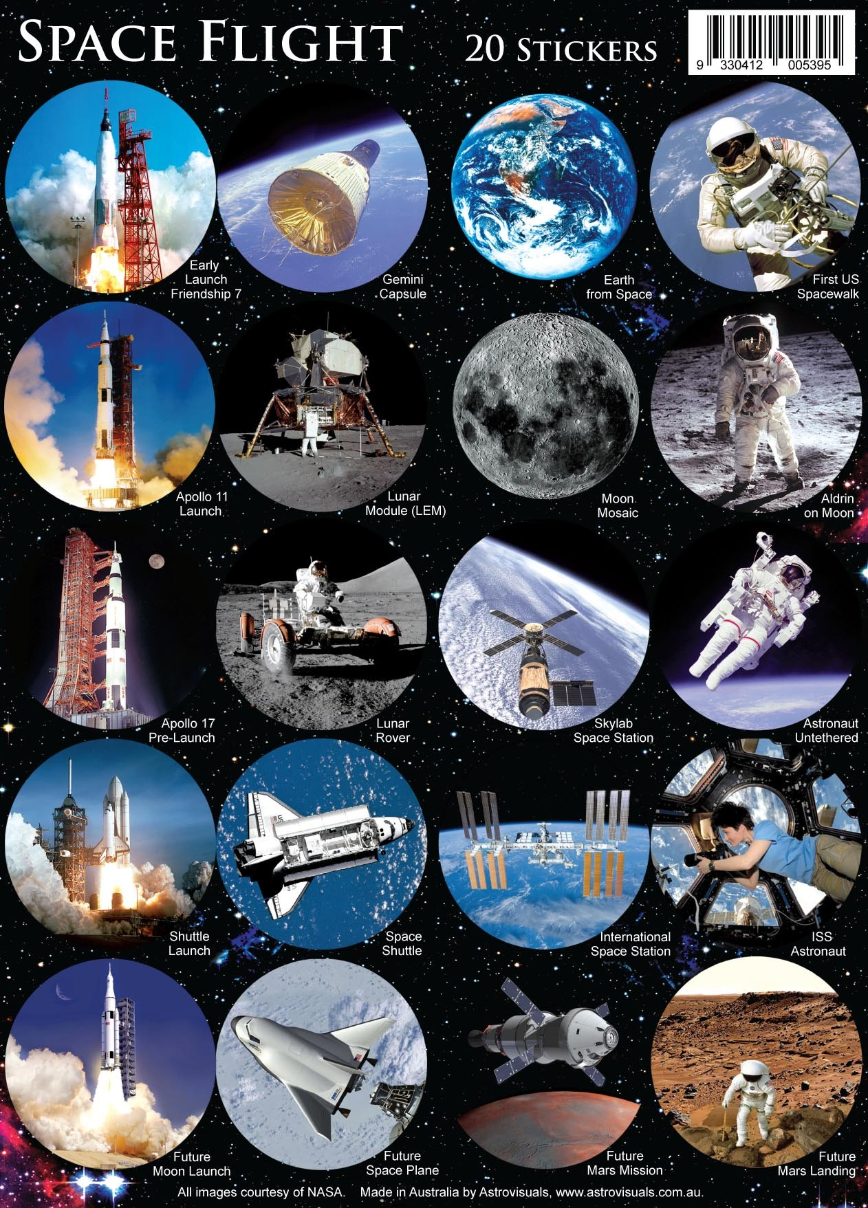 Astrovisuals Space Flight Set of 20 Stickers