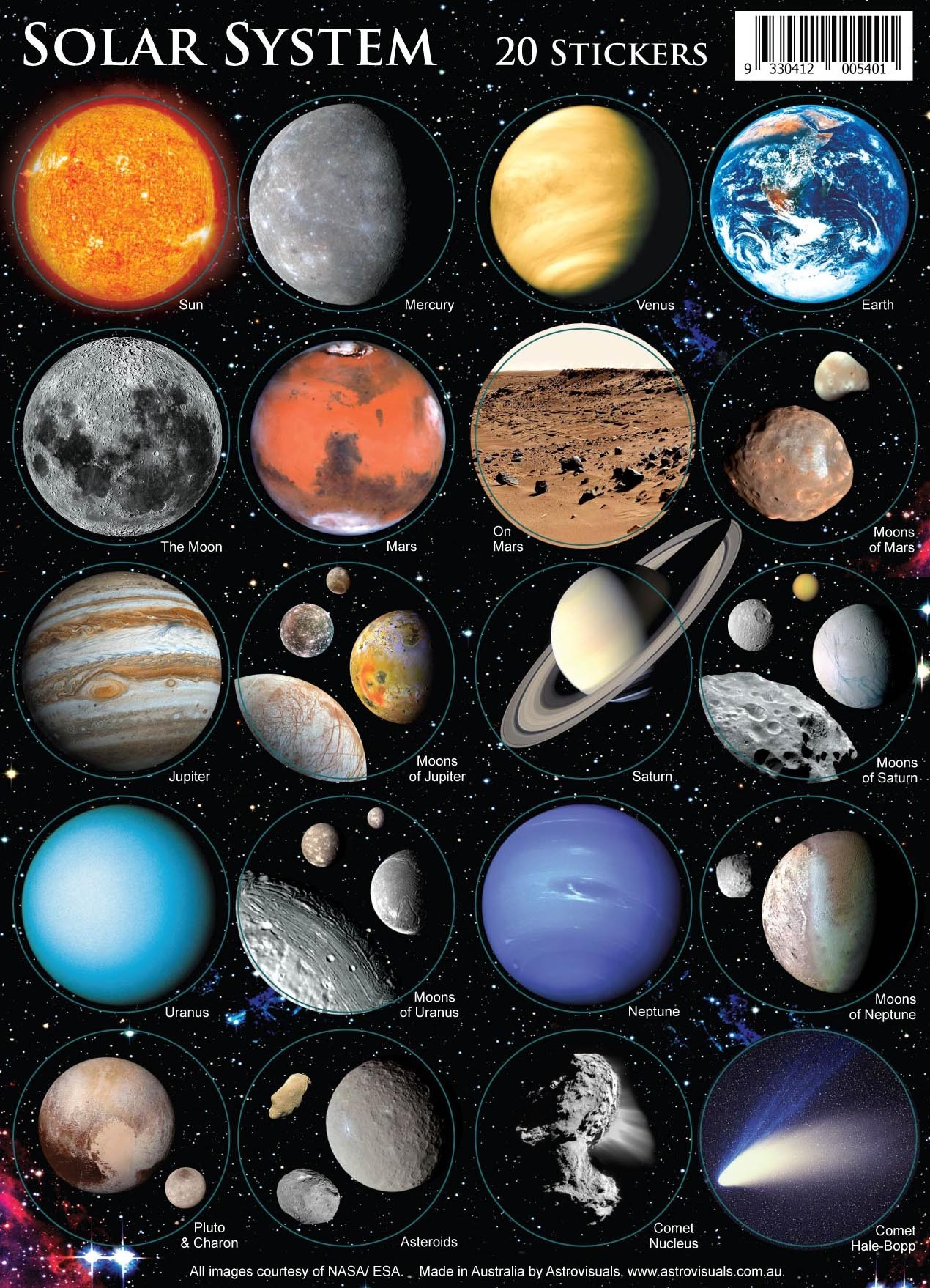 Astrovisuals Solar System Set of 20 Stickers