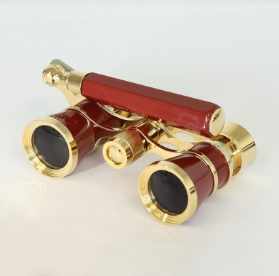 saxon 3x25 Opera Glasses with Handle (Red)