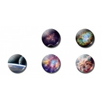 Outer Space Round Stickers 5 pieces